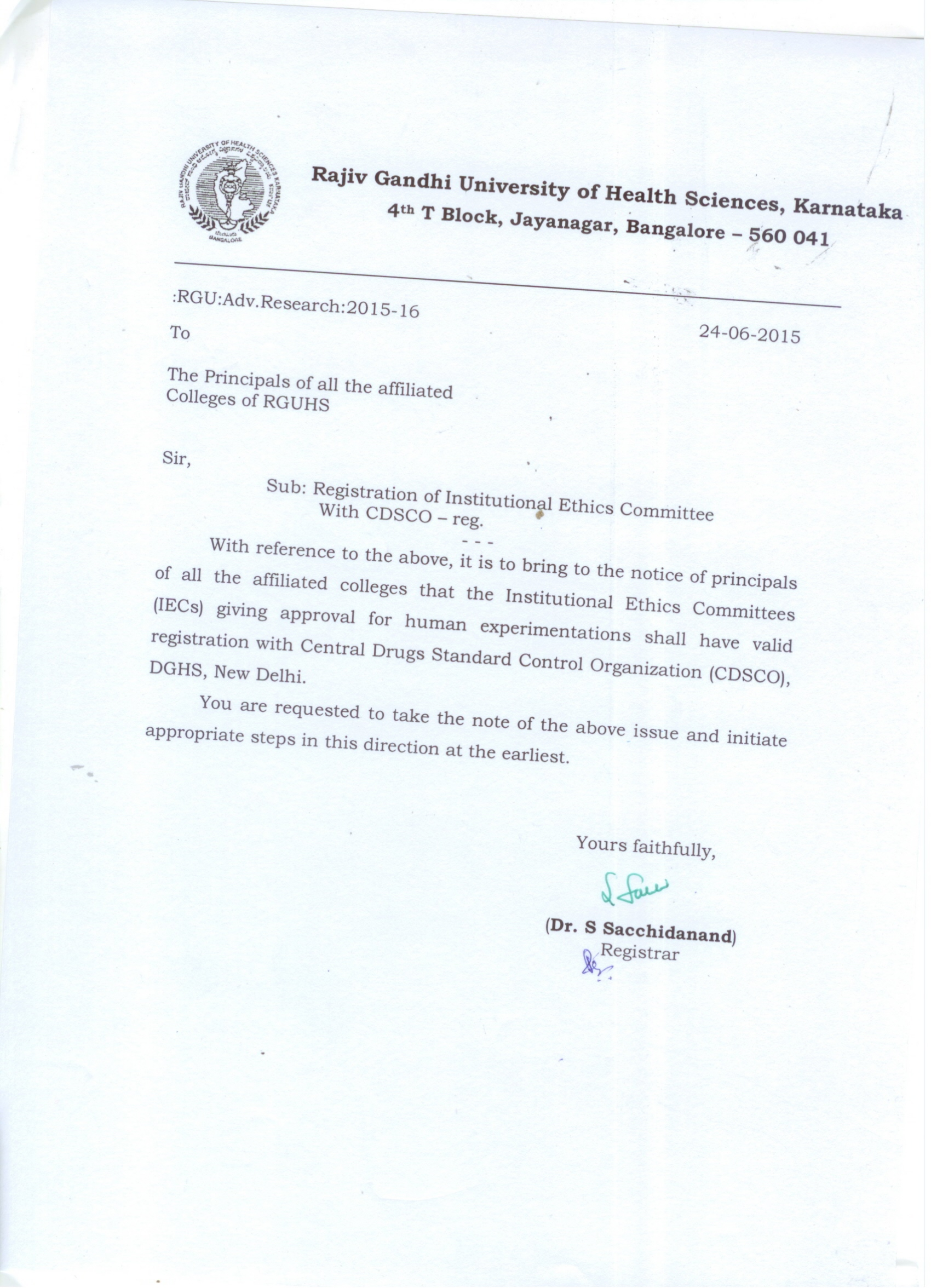 Circular to medical colleges regscog awareness programme on cpcsea guidelines for animal experimentation scheduled on 22nd may 2015 at rguhs inviting application forms for advance research stopboris Images
